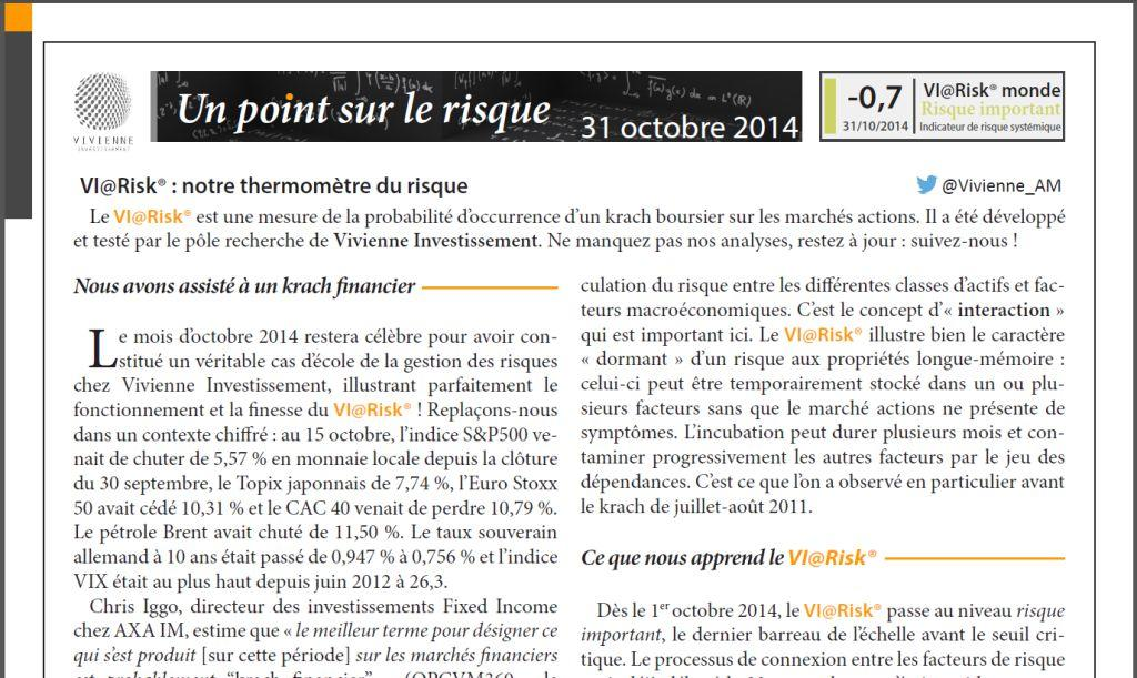 Un point sur le risque - Octobre 2014
